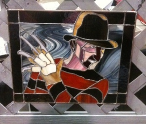 Freddy's image on stained glass
