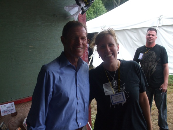 Author Stacey Longo with Senator Richard Blumenthal at the NEHW booth at the Hebron Harvest Fair. Photo by Jason Harris.