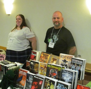 Authors Trisha Wooldridge and David Price at the NEHW table.