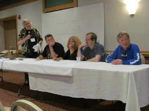 From left to right: Craig Shaw Gardner, Christopher Golden, Elizabeth Massie, Nicholas Kaufman, and F. Paul Wilson participating in That Damn Game Show.