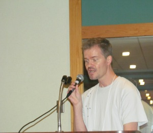 Author Jeff Strand during the Necon Roast.