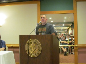 Author Brian Keene during the Necon Roast.