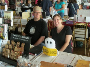 Authors Michael Evans and Stacey Longo at the Books & Boos table.