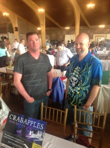 Authors Rob Watts and David Price behind the Books & Boos table.
