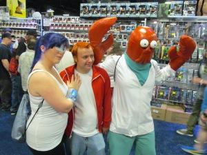Futurama'sTuranga Leela, Philip J. Fry, and Dr. John A. Zoidberg.