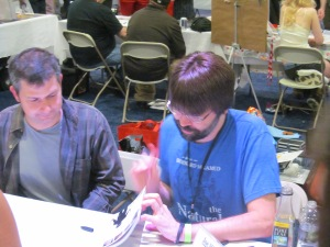 Illustrator Gabriel Rodriguez and author Joe Hill.