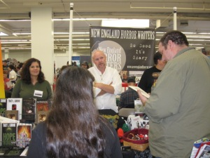 Authors and members of the New England Horror Writers Tracy L. Carbone and Rob Smales.