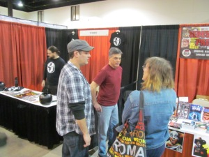 From right to left: authors Robert Duperre, Kurt Newton, and Stacey Longo at the Sideshow Press and Shock Totem tables.