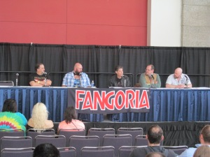 Authors Scott Goudsward, Joe Knetter, Jack Ketchum, Jack Haringa, and Bracken MacLeod on the Writer's Studio panel.