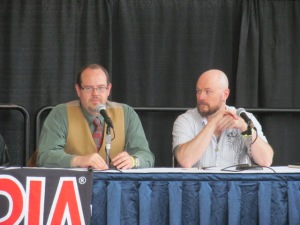Authors Jack Haringa and Bracken MacLeod on the Writer's Studio panel.