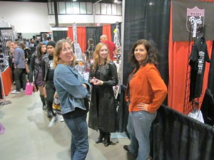 Authors Stacey Longo, Erin Thorne, and Tracy Carbone at the New England Horror Writer booth.