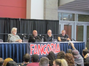 Actors Gunnar Hanson, Tony Moran, Robert Englund, and Kane Hodder on the 40 Years of Our Worst Nightmares panel.