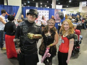 Author Erin Thorne with some Steampunk characters.