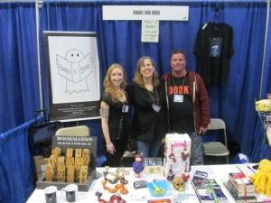 Authors Erin Thorne, Stacey Longo, and Rob Watts at the Books and Boos booth.