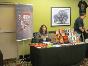 Author Tracy Carbone at the Shadowridge Press table.
