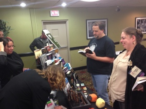 A lot of activity at the Books and Boos table.