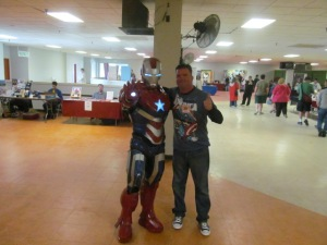 Author Rob Watts with the Iron Patriot.