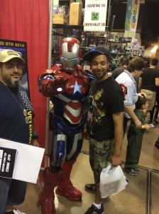 Iron Patriot with a convention-goer.