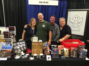 Authors Stacey Longo, Vlad Vaslyn, Rob Watts, and Dale T. Phillips at the Books & Boos table.