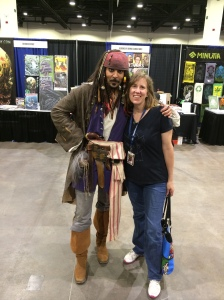 Author Stacey Longo with Captain Jack Sparrow.