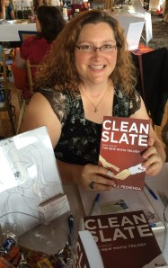 Author E.J. Fechenda with her book, Clean Slate.