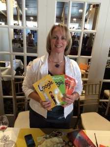 Author N.E. Castle with her Loogie the Booger Genie series.