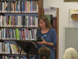 Author Stacey Longo during her CT Author Trail appearance at the Saxton B. Little Library in Columbia. Photo by Jason Harris.