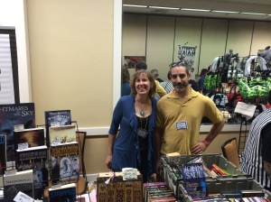 Authors Stacey Longo and G. Elmer Munson at the Books & Boos table.