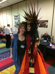 Author Stacey Longo with a cosplayer.