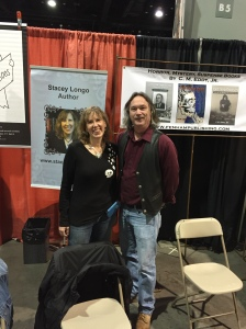 Author Stacey Longo and publisher Jim Dyer at the Books & Boos/Fenham Publishing table.