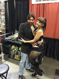 Artist/Publisher Derek Rook of Rough House Publishing and model/actress Sarah Michelle.