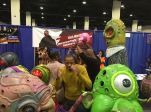 J. August Richards dancing with the alien band.