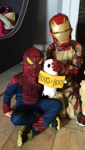 BB hanging with some superheroes.