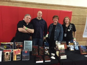 Authors Dale T. Phillips, Vlad V., Ursula Wong, and Stacey Longo at the Books & Boos' tables.