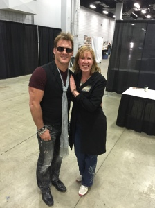 WWE wrestler Chris Jericho with author Stacey Longo.