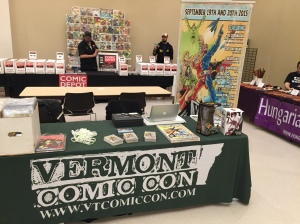 The Vermont Comic Con table at ChaseCon.
