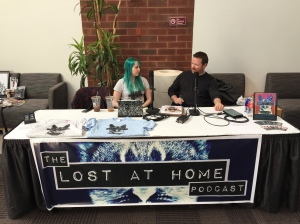The Lost at Home podcast table.