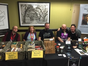 From left to right: Artist Morbideus Wolfgang Goodell and authors Stacey Longo, Peter N. Dudar, L.L. Soares, and Kristi Petersen Schoonover at the Books & Boos table.