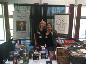 Authors Stacey Longo and Kristi Petersen Schoonover at the Books and Boos table.
