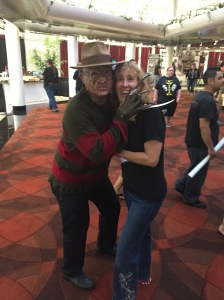 Freddy Krueger and author Stacey Longo.