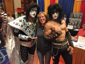 Author Stacey Longo with members of Kiss tribute band, Kiss Forever.