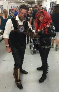 Steampunk Iron Man and Black Widow.
