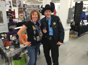 Author Stacey Longo and Cosplayer R.W. Martin.