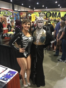 Actree/model Sarah Michelle (left) and a convention-goer.