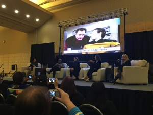 The Faces of Star Trek panel (from Left to right): Marina Sirtis, Michael Dorn, Gates McFadden, Terry Farrell, and moderator Clare Kramer.
