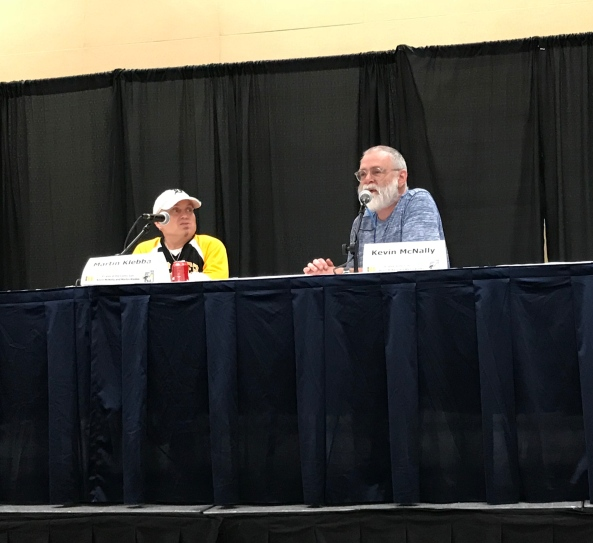 Martin Klebba and Kevin McNally at the Pirates of the Caribbean panel.