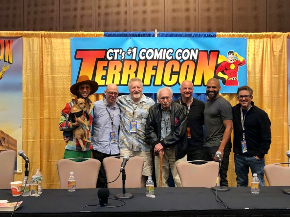 The Classic Cartoon Voiceovers Actors panel: Greg Cipes, Rafael Ferrer, Larry Kenney, Khary Peyton, Paul Soles, and Charile Schlatter.