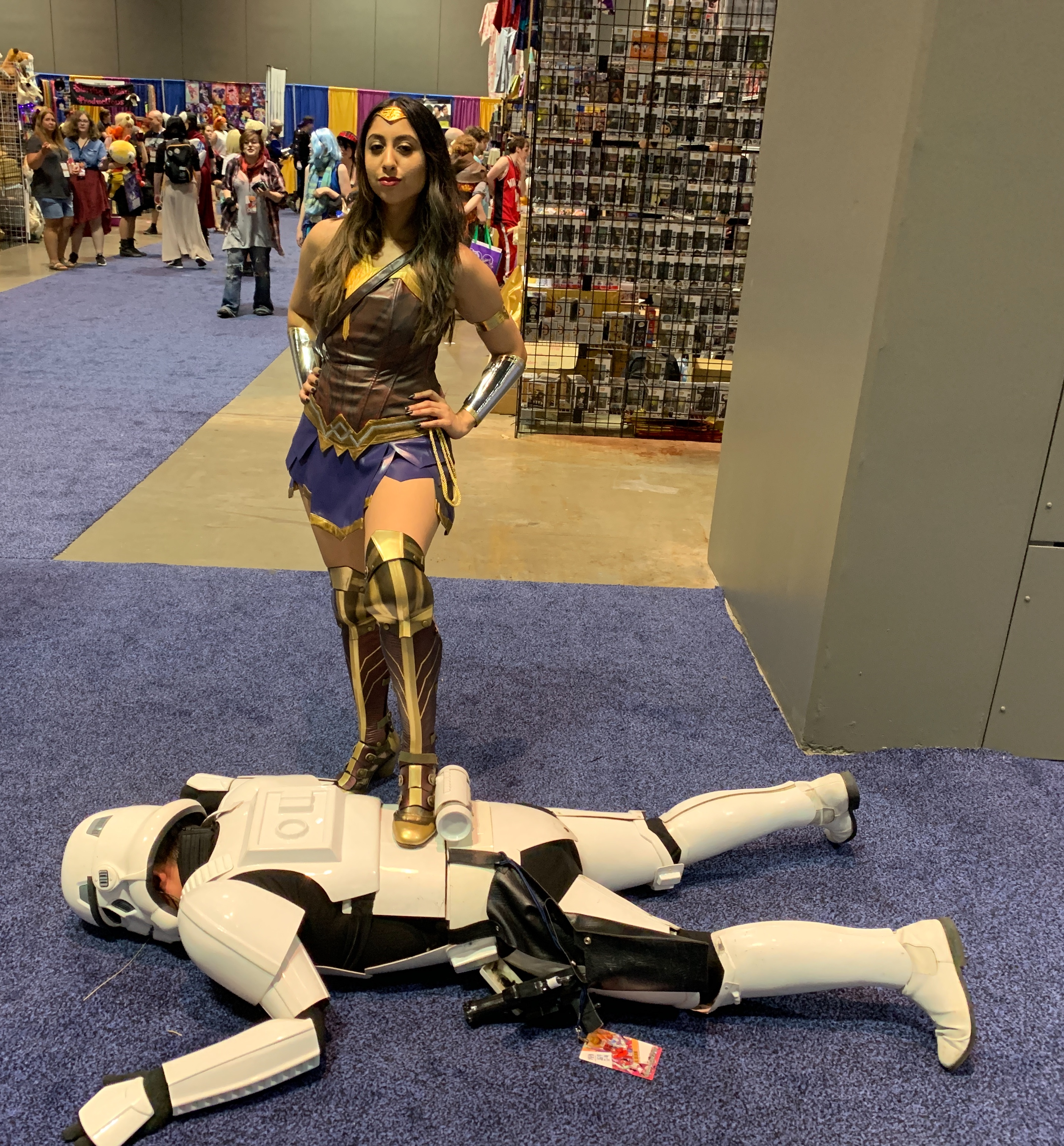 Wonder Woman taking out a Storm Trooper.