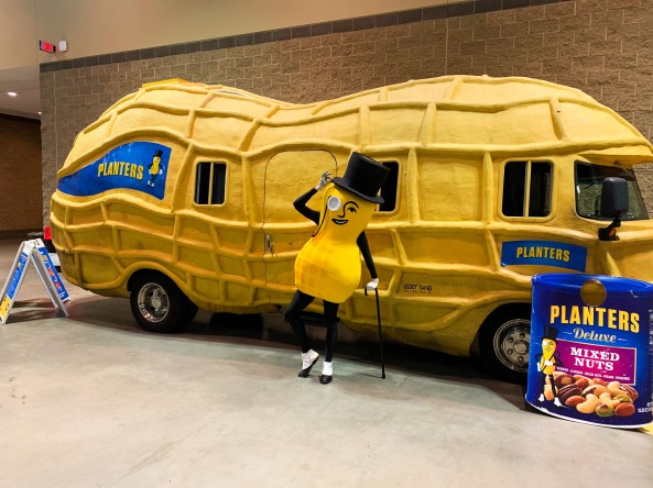 Mr. Peanut and the Peanutmobile.