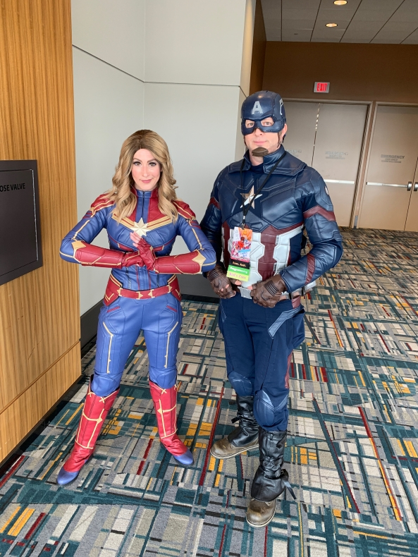 Captain Marvel and Captain America.